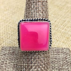 Pink Agate Stone Ring Size 8